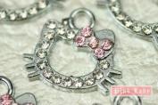 K54 Wholesale Cute Crystal Hello Kitty 10pcs Bead Charm Pendant