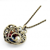 Gold Plated Vintage Hollow Heart with Colourful Pearl Pendent Bronze Long Necklace / Sweater Chain