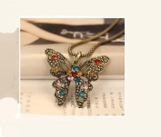 Gold Plated Vintage fashion Crystal Butterfly Pendent Bronze Long Necklace / Sweater Chain----(With Cutely Gift Box)---Awesome gift for Holidays--. From USA--takes 2-6 working days with shelley.kz INC-------
