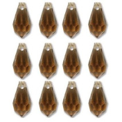 6.5x13mm Preciosa Czech Crystal Faceted Drop Smoked Topaz Beads 498 68 301 Package of 12