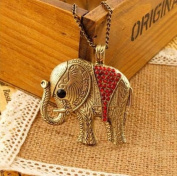 Gold Plated Vintage fashion Crystal Red Elephants Pendent Bronze Long Necklace / Sweater Chain----(With Cutely Gift Box)---Awesome gift for Holidays--. From USA--takes 2-6 working days with shelley.kz INC-------