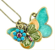 Gold Plated Vintage fashion double Butterfly Pendent Bronze Long Necklace / Sweater Chain----(With Cutely Gift Box)---Awesome gift for Holidays--. From USA--takes 2-6 working days with shelley.kz INC-------