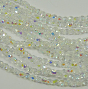 600 Czech 4mm Crystal Clear Ab Faceted Round Firepolished Glass Beads 1/2 Mass Fire Polished