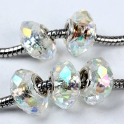 5 Pcs White Ab Crystal Glass Faceted Big Hole Beads C59