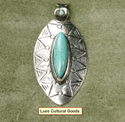 Luos Turquoise Stone Pendant with Silver Metal - PD017