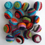 Felted Wool Bead 20 Piece Colour Packs- 20 Multicolor Stripes
