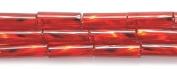 Preciosa Ornela Czech Twisted Bugle Glass Bead No.3, 2 by 7mm, Silver Lined, Garnet