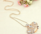 Gold Plated Crystal Lovely Bling Queen Crown Long Necklace / Sweater Chain--(With Cutely Gift Box)-----. From USA--takes 2-6 working days with shelley.kz INC-------