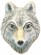 Shipwreck Beads 25 by 34mm Peruvian Hand Crafted Ceramic Wolf Face Beads, Grey, 3 Per Pack