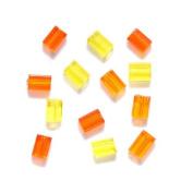 Preciosa Ornela Czech Flat Rectangle Bugle Glass Bead, 3-1/2 by 5mm, Yellow/Orange, 130 gm/pack