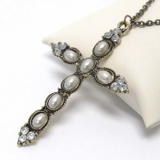 Michelle Ray Jewellery Crystal and pearl deco cross pendant necklace - A1215RD-102139