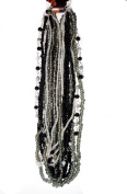 Blue Moon Royal Boheme Glass Bead Hank 11 Strands/Pkg, Seed Beads, Black, Grey and White