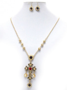 Michelle Ray Jewellery Crystal and epoxy deco antique cross pendant necklace earring set - Y11261GBK-111492