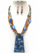 Michelle Ray Jewellery Gold flake deco resin pendant and multi chip stone chain necklace earring set - S11245BL-7866