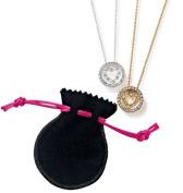 Rhinestone Heart Pendant Necklace in Pouch - goldtone