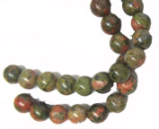 Bead Collection 40336 Semi Precious Unakite Green 10-Millimetre Round 17cm