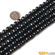 Gem-Inside 8-9mm White Natural Freshwater Pearl Beads Strand 15 Inches