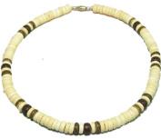 "Native Treasure - Coco Bead Necklace Blond Coco 3 Dark Puka Shell Surfer Hawaiian Choker Surfer Puca Beads Pooka - 8mm (5/16"") - 18"" Inch"