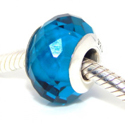 ".925 Sterling Silver ""Fascinating Zircon Blue"" December Birthstone Murano Glass Charm for Snake Chain Charm Bracelets"