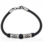 Bico Australia Jewellery - Earthdivers Beaded Black Rubber Bracelet - Pariacaca Ca3 20cm