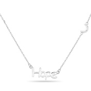 New 925 Sterling Silver Cz Inspirational 'Hope' Moon Necklace