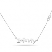 New 925 Sterling Silver Cz Inspirational 'Infinity' Infinity Symbol Necklace