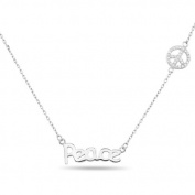 New 925 Sterling Silver Cz Inspirational 'Peace' Peace Sign Necklace
