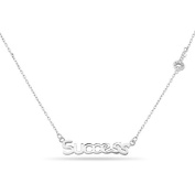 New 925 Sterling Silver Cz Inspirational 'Success' Key Necklace