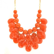 Chunky Ball and Bead Grape Quartz Necklace and Earring Set Orange Colour