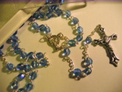 Rosarybeads Carved Glass Blue Sapphire Rosary Beads Rosaries Bnib