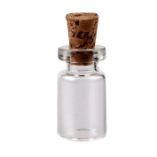 Uhome 100-Pack Mini Glass Bottles Cork Tops Message Weddings Wish Jewellery Party Favours Miniature Glass Bottle with Cork Top No4- 18x10mm