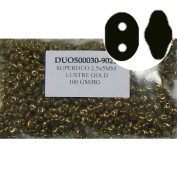 SuperDuo Lustre Gold 2.5x5mm 2 Hole Beads Czech Glass Seed Beads 100 Gramme Bag