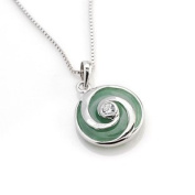"""Silver Necklace and Pendant Drop - 100% Pure 925 Sterling Silver w/Brazil Green Agate Pendant ,Pendant Size : 1.5cm dia Weight 2.5g and With 17"""" Sterling Silver Chain Necklace ,Free Gorgeous. Jewellery Box ,Super Saving ,100% Satisfaction Guar .."""