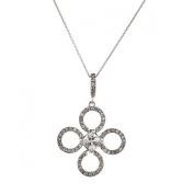 Sterling Silver 925 CZ Circles Pendant with 46cm Chain & Gift Box