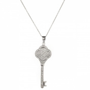 Sterling Silver 925 CZ Key Pendant with 46cm Chain & Gift Box