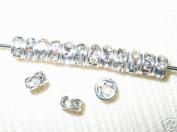 100. Rondelles 4mm Silver/Crystal SR401
