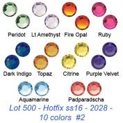 Wholesale lot 500 pcs ss16 ~ 4mm. Crystal Hotfix Flatback Rhinestone #2028 Xilion Rose 10 colours