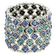 Blue and Turquoise Elastic Crystal 5 Row Stretch Bracelet