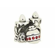 Marketplace 151164 Christmas Celebration Bead in Sterling Silver with Red. Zirconia Moress ST-27