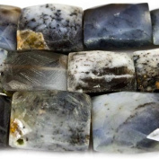 11mm Dendritic Opal Faceted Rectangle Beads, 15 inch