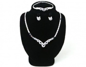 High Quality Fashion Jewellery Earrings Necklace Bracelet Set [ECSS-052] Rhodium plated Tin / Rhinestone / Rhodium plated Brass - Made in KOREA