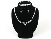 High Quality Fashion Jewellery Earrings Necklace Bracelet Set [ECSS-053] Rhodium plated Tin / Rhinestone / Rhodium plated Brass - Made in KOREA