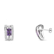 NEW 925 STERLING SILVER AMETHYST CZ EARRINGS