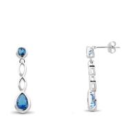 New 925 Sterling Silver Aquamarine Cz Earrings