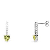 New 925 Sterling Silver Peridot Cz Earrings