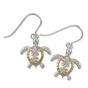 925 Silver Two Tone Petroglyph Turtle w/ Plumeria Dangle Earrings Hawaiian Silver Jewellery