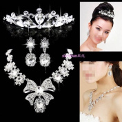 3PCS Elegant Big bowknot Crystal Bridal wedding Jewellery Sets Imperial crown+Necklace+earrings Classic Jewellery Wedding Accessory, Party Jewellery