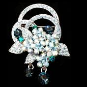 Clear Tin-plated Alloy Crystal Czech Wedding Bridal Bouquet Flower Brooch