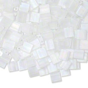 Tila Seed Beads Glass, Matte Transparent Crystal Ab, (Tl 131fr), 5x5mm Square with (2) 0.8mm Holes. Sold Per Pkg of 40 Grammes.