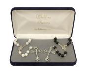 "Black & White Beaded Wedding Rosary 8MM Glass Beads 20"" #3006"